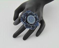 denim ring denim jewelry denim flower collection by styledonna
