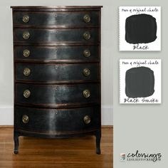 Maybe it has to with being from New York, but I love black. Fashion, design, decor, even paint feels elevated to a new elegance when it's our neutral and darkest color. It highlights e… Black Painted Furniture, Chalk Paint Furniture, Furniture Projects, Furniture Makeover, Diy Furniture, Black Distressed Furniture, Furniture Refinishing, Kitchen Furniture, Garden Furniture