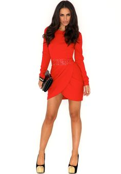 My Fav color!    Siran Cut Out Sequin Dress With Tulip Skirt In Scarlet
