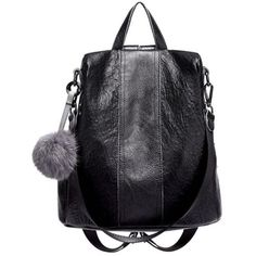 45c3f93119be JeHouze Fashion Women Handbag Genuine Leather Backpack Casual Shoulder Bag  Anti-theft purse(Black