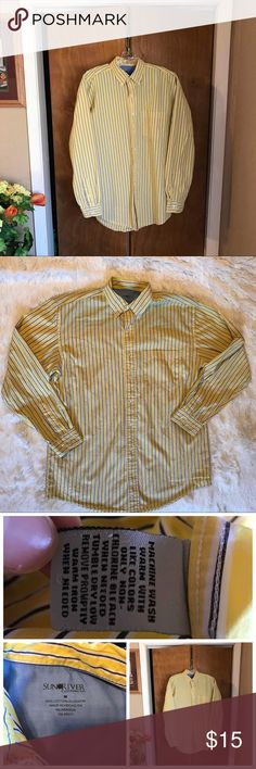 """👔Sun River Clothing Co Button Down Casual Shirt 👔Sun River Clothing Co  👔Button Down Collar  👔Long Sleeve  👔Adjustable Cuff  👔Yellow, Blue, And White Striped 👔100%Cotton 👔Reference Photographs Approximate Measurements  Neck 151/2"""" Shoulders 21"""" Sleeves 34"""" Length 32 1/2"""" Chest 24"""" ♠️The Accuracy Of My Descriptions Are Important To Me. If You Have Any Questions Or Need Additional Photographs,Please Ask. 🚫Trades Sun River Shirts Casual Button Down Shirts"""