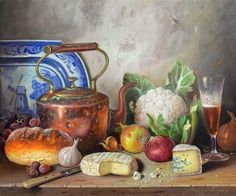 Still life of table setting with copper kettle - Raymond Campbell