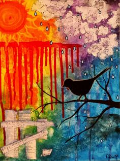 Gray Skies Are Gonna Clear Up - Acrylic Painting / On canvas / Original Hand Made / Abstract Painting / Modern Art / Ashley Kunz www.facebook.com/AutumnInDecember  Artwork by: Ashley Kunz #art #abstract #liquitex60th #acrylic #bird #rain #sun #whimsical #colorful #wallart #abstract #abstractart #abstractartist #abstractpainting #acrylic #art #arte  #artgallery #artist #artwork #color #colour #creative #myart #onlineart #onlineartgallery #paint #painting #paintings #phototag  #wallart…