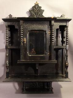 19thc Antique Victorian Era Barley Twist Hanging Safe Old Curio Cabinet Ebay Cupboard