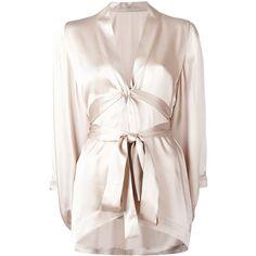 Ikonostas butterfly kimono (27.610 RUB) ❤ liked on Polyvore featuring intimates, robes, beige, silk kimono robe, silk kimono, silk robe, kimono robe and butterfly kimono