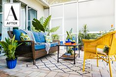 A Bright and Colorful Patio Makeover | A client wanted to add some oomph to her outdoor space, so she designed a lanai that reflected her passions, style and personality. The space went from standard to stunning with bold and bright furniture, plenty of greenery and surprising accents sprinkled throughout.