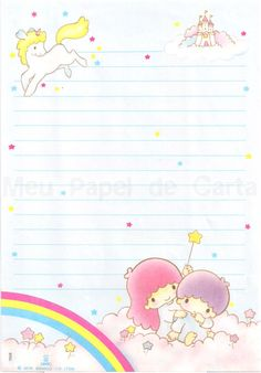 Little Twin Stars letter pad My Melody Wallpaper, Sanrio Wallpaper, Little Twin Stars, Pen Pal Letters, Baby Journal, Kawaii Stationery, Borders For Paper, Kid Character, Letter Set
