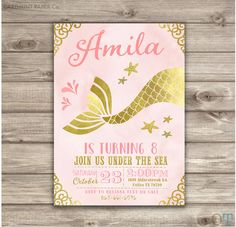 ★★★ Printable Digital File ★★★  ♥ Under the Sea Mermaid Invitations Pretty in Pink and Gold Shabby Chic Mermaid Baby Shower Invitations in Rose Gold  ♥
