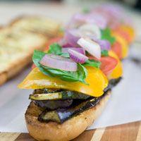 Grilled Veggies on Garlic Bread Sandwich via Peaceful Plate #recipes #sandwich…