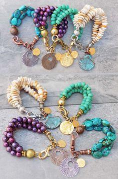 Hot off the Bench NEW 3 Strand Beaded Charm Bracelets Under 100 Wire Jewelry, Boho Jewelry, Jewelry Crafts, Jewelry Shop, Beaded Jewelry, Jewelery, Jewelry Bracelets, Jewelry Design, Ankle Bracelets