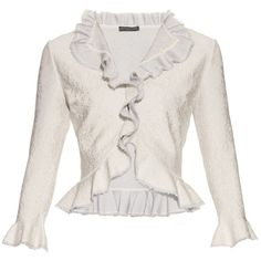 Alexander McQueen Lace-effect knit ruffled cardigan ($1,150) ❤ liked on Polyvore featuring tops, cardigans, alexander mcqueen, jackets, light grey, lace knit top, ruffle top, knit cardigan, frill top and lace cardigans
