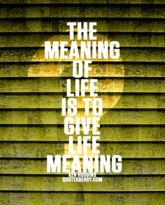 """""""Life is without meaning. You bring the meaning to it. The meaning of life is whatever you ascribe it to be. Being alive is the meaning.""""  -Joseph Campbell"""