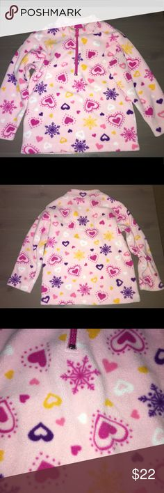Hanna Andersson Heart 3/4 Zip Pullover Fleece Perfect for the upcoming winter! Hanna Andersson 3/4 zip pullover fleece with a great heart and snowflake design, size 3T. Hanna Andersson Jackets & Coats