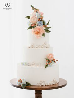 Sweet pastel peach and blue rustic wedding cake by Winifred Kriste Cake. Get inspired by more amazing wedding cakes in the feature! Wedding Shower Cakes, 3 Tier Wedding Cakes, Fondant Wedding Cakes, Amazing Wedding Cakes, White Wedding Cakes, Elegant Wedding Cakes, Green Wedding, Spring Wedding, Rustic Wedding