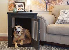 Large Dog Crate Pet End Table 2 Latch Espresso Wooden Kennel Dog Bed Furniture #NewAgePet