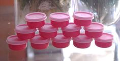 12 Tupperware Pink Smidget Containers