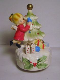 FASS Vintage Josef Originals Angel arbre de Noël tournant figurine de porcelaine boîte à musique joue Silent Night présente Japon ornement décoration