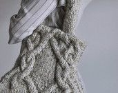 Unique hand knit cable shoulder bag knitted purse designer texture aran tote hobo bag in natural beige - Celtic Journey - Irish inspired