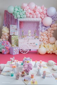 Candy Theme Birthday Party, Candy Party, 2nd Birthday Parties, Birthday Balloons, Birthday Party Decorations, Birthday Cake, Anniversaire Candy Land, Pastel Balloons, Pastel Party