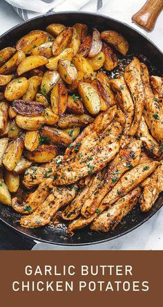 Delicious Garlic Butter Chicken and Potatoes Skillet Recipe – Delishopedia Chicken And Potatoes Skillet Recipe, Skillet Potatoes, Garlic Butter Chicken, Baked Chicken Wings, Sauce Recipes, Pasta Recipes, Beef Recipes, Chicken Recipes, Dinner Recipes