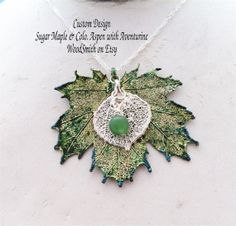 Real Silver Leaves necklace pendant Sugar Maple by WoodSmith