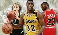 Larry Bird, Magic Johnson and Michael Jordan
