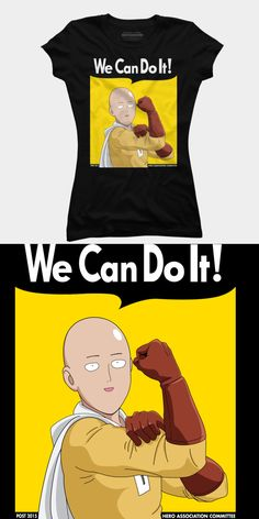 One Punch Man We Can Do It T Shirt | Parody design featuring Saitama, the hero who can beat his enemies with a single punch. | Visit http://shirtminion.com/2016/01/one-punch-man-can-t-shirt/