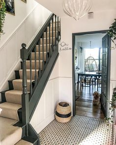 """CK HOMESTYLE on Instagram: """"Happy Tuesday everyone. . . Staircase panelling - not something I'd repeat anytime soon. The cuts and angles drove us insane. But hey you…"""" Stairs And Hallway Ideas, Small Staircase, House Staircase, Hallway Ideas Entrance Narrow, Staircase Remodel, Staircase Makeover, Small Hallways, Staircase Design, Staircases"""