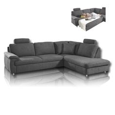 Ecksofa grau mit schlaffunktion  Ecksofa Maxie 330x178 cm Grau mit Schlaffunktion | Sofaträume ...