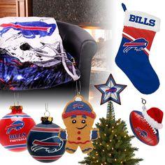 Buffalo Bills Christmas Ornaments, Stocking, Tree Topper, Blanket