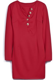Red V Neck Long Sleeve Buttons Straight Dress 0.00