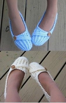These women's slippers are easily made by crocheting all in one piece.