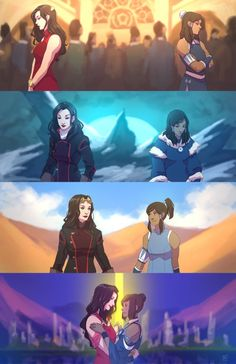 Convergence Korra and Asami's relationship from Book 1 - 4. For access to the full res file + resized PSD (there was a size limit) become a Patron ($5 per artwork).