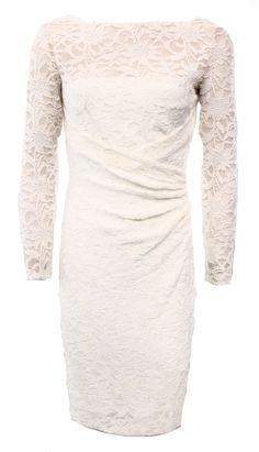Lauren Ralph Lauren NEW White Women's Size 2 Lace Ruched Sheath Dress $174