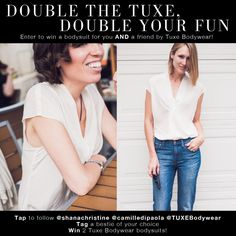 Tag a friend to win a bodysuit of your choice from Tuxe Bodywear!  (visit The Mom Edit for a full review of the line....it's FAB.)