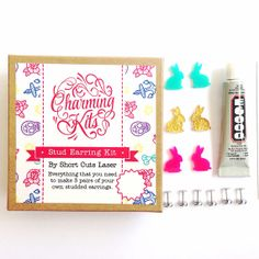 A cute kit includes everything you need to make your own bunny earrings.