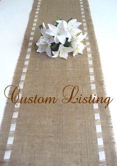 Burlap Table Runner with Double Face Satin Ribbon - Rustic Home/Wedding Decor. $24.00, via