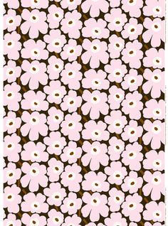 The dark green, pink and brown Pieni Unikko pattern decorates this printed cotton fabric. It has an acrylic stain repellent finish making it is easy to wipe clean with a damp cloth. Marimekko Wallpaper, Marimekko Fabric, Fabric Patterns, Print Patterns, Pattern Designs, Floral Patterns, Poppy Pattern, Extra Fabric, Fabric Swatches