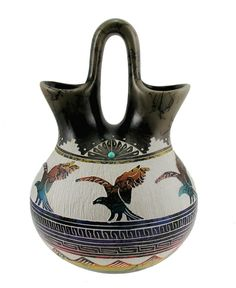 Navajo Horsehair Wedding Vase with Eagle Signed By Hilda Whitegoat | klugex.com/collectibles