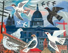 """Mark Hearld's """"St. Paul's Pigeons"""" collage"""