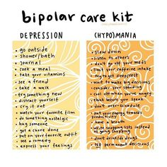 Bipolar care kit for your depression and (hypo)mania days. Mental And Emotional Health, Mental Health Quotes, Mental Health Matters, Bipolar Disorder Facts, Mental Disorders, Bipolar Awareness, Mental Health Awareness, Bipolar Symptoms, Bipolar Help