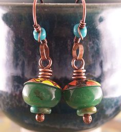 Earrings Multicolor Green Spring Summer Vintage by lunedesigns, $22.00