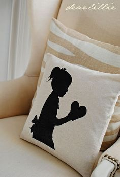 silhouette pillow with a heart