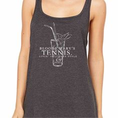 Tennis Tank Top is a featured top in our Southern Tennis Collection. Fun ladies tank tops in chic charcoal grey! Be sure to shop the entire Southern Collection. Exclusively designed by M&D Southern Style!
