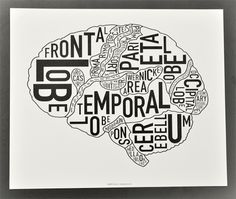 """brain diagram / neurology map. """"science + art = good things."""" by ork posters, seen at kimprints in gastown   Repinned by @drbrunogallo"""
