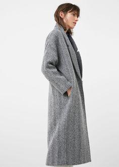 Herringbone pattern wool coat - Coats for Woman | MANGO USA