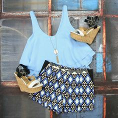 Shop our Diamond Abstract Tailored Shorts in Blue for only $33 with FREE SHIPPING on ALL orders!