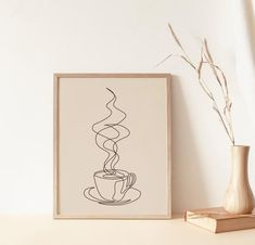 Your Coffee Is Getting Cold Art Print Coffee Wall Art, Simple Line Drawings, Drawing Wallpaper, Coffee Drawing, Printable Wall Art, Coffee Printable, Abstract Line Art, Minimalist Art, Diy Art
