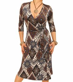 Navy Blue and Mocha Ethnic Print Wrap Dress - £34.99 A classic style wrap dress made from ethnic print slinky fabric. Tie fastenings around the waist, and ¾ length sleeves. #womensfashion justblue.com