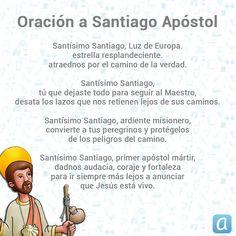 Deja en manos del primer apóstol mártir, todo eso que ahora te preocupa. San Santiago, Prayers, Quotes, Angels, Stitch, Truths, Religious Quotes, Spirit Quotes, Religious Pictures